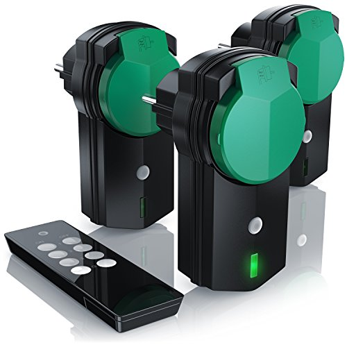 funksteckdose garten CSL - Outdoor Funksteckdosen Set 3+1 | für den Außenbereich | 3x Funkschalter-Steckdosen inkl. Fernbedieung | LED-Statusanzeige | Kindersicherungsschutz | 3680W | IPX4 | schwarz/grün (matt)