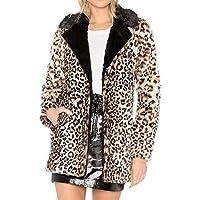 TWBB Damen Mantel,Winter Warm Outwear Leopard Gedruckt Kunstfell Jacke Pullover Trenchcoat Strickjacke Coat