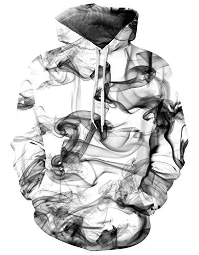 Pretty321 Men Women Color Painting Digital Hoodie Sweatshirt w/ Pocket Collection Ink Smoke Painting White
