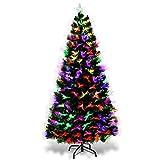 COSTWAY LED Weihnachtsbaum Künstlicher Tannenbaum Christbaum beleuchtet 150/180/210cm Grün mit Glasfaser-Farbwechsler (150cm)