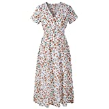 FNKDOR Summer Fashion Womens V Neck Holiday Birthday Family Party Formal Suit Floral Print Dress Ladies Summer Beach Party Dress Shirtdress Pleated Skirt(White ,UK-12/CN-M)