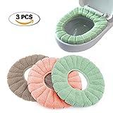 Pinji 3PCS Housse de Siège de Toilette Multicolore Chaud Protection Housse de Cuvette Couverture Toilette Siège Housse WC Couvercle Toilette Siège Housse pour abattant WC (#2)