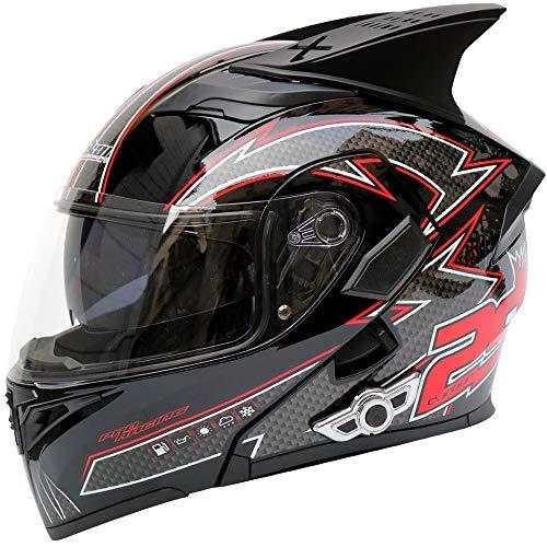 Casco moto Bluetooth, Bluetooth integrato anti-fog modulare doppio obiettivo Bluetooth casco integrato design Bluetooth casco 3000 mAh, MP3, GPS (Design : D-Xl)