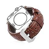 Für Apple Watch Armband 42mm, Bandmax Braunes Echtes Lederarmband mit Edelstahl Gürtelschnalle Ersatzarmband Uhrenarmband für 42mm Apple Watch Series 1/2/3(silber)