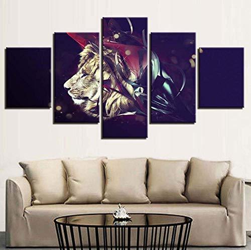hd stampa modulare dipinto 5 pezzi animali leone foto a casa di soggiorno dell'arte moderna decorazione muro tela poster