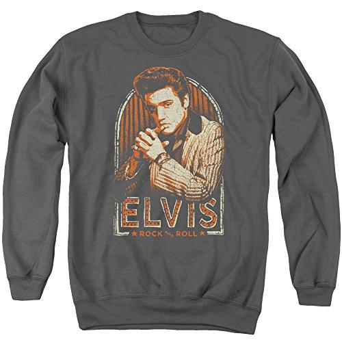 Elvis Presley - - Männer Streifen Pullover, Large, Charcoal -