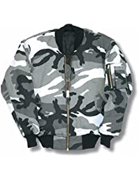 Camouflage MA1 Bomber Flight Jacket With Heavy Brass Zip