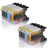 Tigtak® - 10 x Stück Druckerpatronen kompatibel für Brother LC-1220 LC-1240 LC1220 LC1240 für MFC-J430W MFC-J5910DW MFC-J6510DW MFC-J6710DW MFC-J825DW (4 Schwarz, 2 Blau, 2 Rot, 2 Gelb)