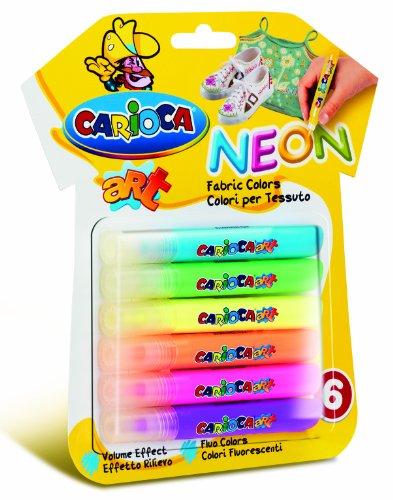 Carioca Neon - Juego rotuladores tela 6 unidades