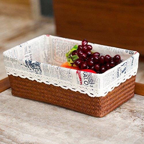 BBYE Boîte De Rangement De Bureau / Rattan Panier De Stockage / Boîte De Rangement De Vêtements / Paille Snacks Boîte De Finition ( couleur : Brown-2 , taille : L )