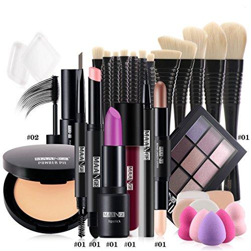 BrilliantDay 12Pcs Cosmetic Kit Lipstick Eyeliner Pen Mascara Surligneur Shimmer Stick Ombre à paupières Pinceau fond de teint Poudre pressée Makeup Set#1