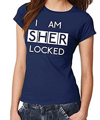 -- I am Sherlocked -- Girls T-Shirt Navy, Gr. S