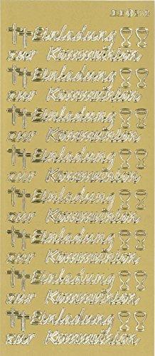 """Sticker """"Einladung zur Kommunion"""" (gold)"""