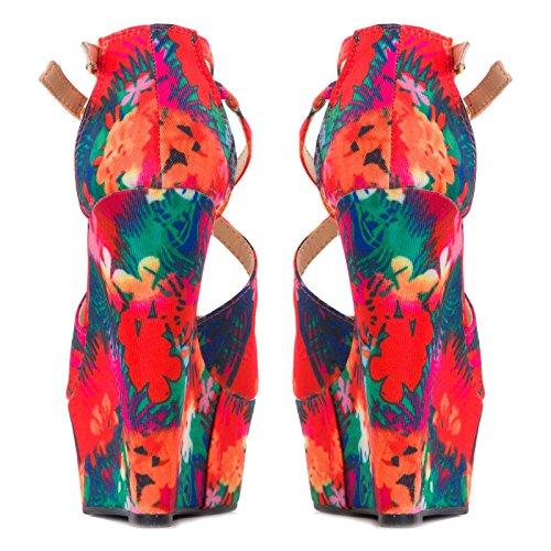 Toocool - Scarpe donna zeppe fantasia piume fiori tacchi alti 15 zatteroni nuovi K1Z1368-1 Rosso