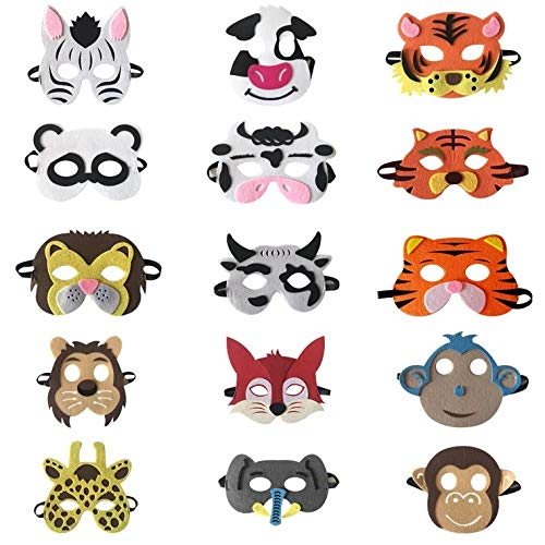 Panda Kid Kostüm - thematys Kinder-Masken Tier-Maske 15er Set -