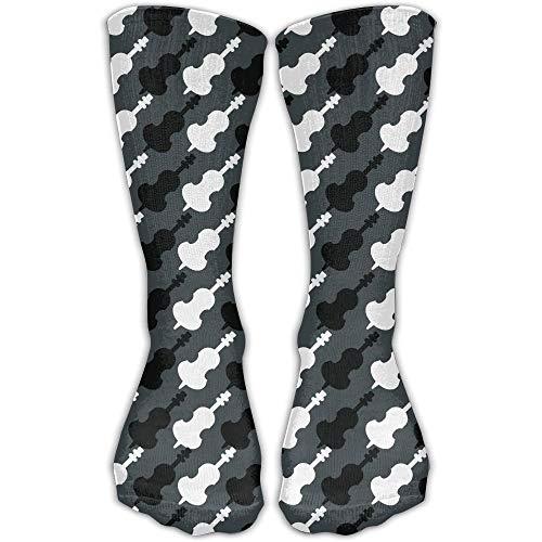 woiebntb3b3 Black And White Cello Printed Men's/Women's 11.8 Inch Cotton Crew Socks 19.68 inch