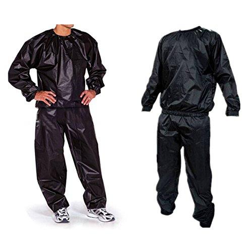 CAMTOA Heavy Duty Neutral Vestiti Di Sauna Sala Fitness Sudore Per l'esercizio Fitness Perdita Di Peso Anti-Rip nero XL