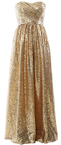 MACloth Women Strapless Sequin Long Bridesmaid Dress Formal Party Evening Gown Gold