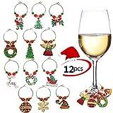 12PCS Anillos de encantos de la copa de vino Marcador Fiesta de Navidad Bar Decoraciones...