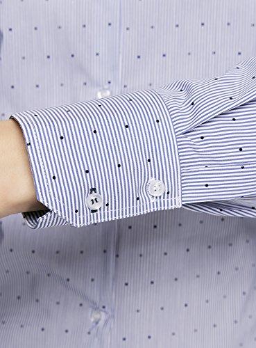 oodji Ultra Damen Taillierte Bluse mit Punkten Blau (1075G)