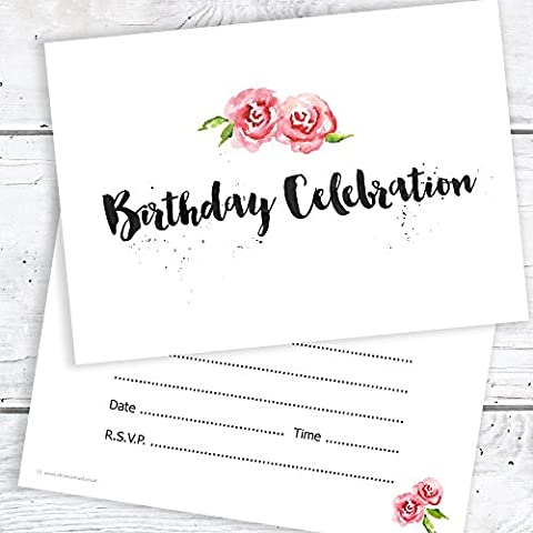 Birthday Party Celebration Invitations - Any Age - A6 Postcard Size with envelopes (Pack of 10)