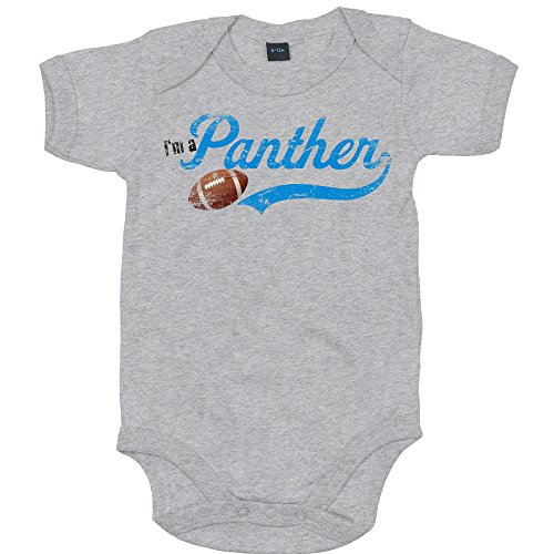 I'm a Panther #1 Babystrampler Super Bowl Play Offs American Sports USA Vintage Bodysuit Babybody Oeko-TEX, Farbe:Grau-Meliert (Heather Grey Melange BZ10);Größe:3-6 Monate