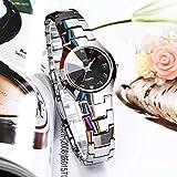 Yyzhx Einfache Uhr Trend Wolfram Stahl weiblich Uhr ultradünn Wasserdicht Bohrtisch Business Quarz Uhr Mode Damen Armbanduhr