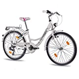"24"" Zoll ALU CITY BIKE JUGENDRAD MÄDCHENFAHRRAD CHRISSON RELAXIA mit 7 Gang SHIMANO StVZO weiss"
