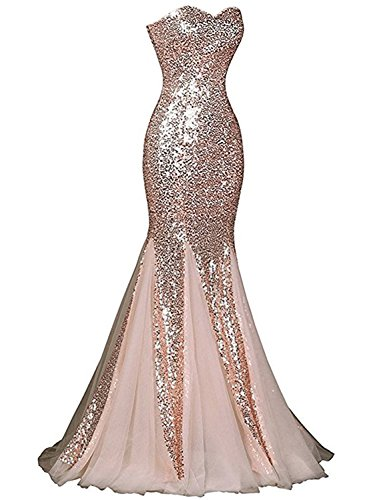 Azbro Women's Glamour Sweetheart Sequin Mermaid Long Prom Dress Royal Blue