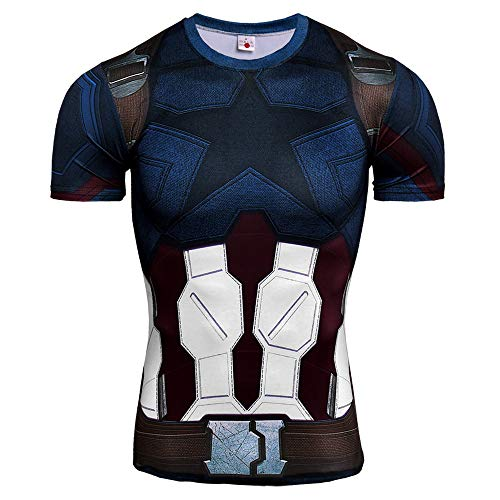 HOOLAZA Captain America Blau Blue Männer Kurzarm Kompression Herren T-Shirt Fitness Sport Gym Compression Avengers Short Shirt Herren Gym Beim Training T-Shirt M (Captain Hat America)
