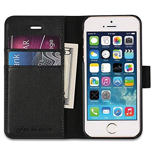 VSHOP ® Etui iPhone 5/5s/se Housse Pochette en Cuir Véritable, Portefeuille avec Rangements de Cartes, Coque de Protection, Fermeture Aimant Fonction Stand pour iPhone 5/5s/5c/ - noir