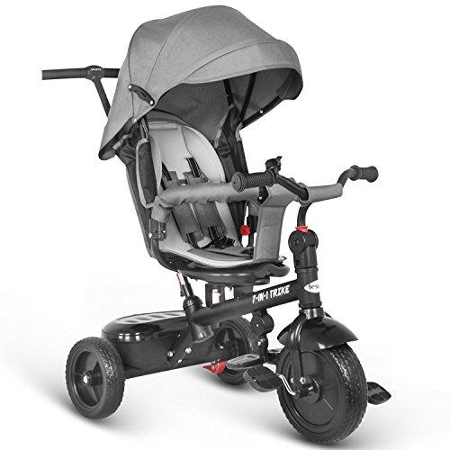 Besrey 7 in 1 Kinder Dreirad Kinderdreirad Fahrrad mit drehbarem Sitz lenkbarer Schubstange Sonnendach ab 6 Monate bis 6 Jahre
