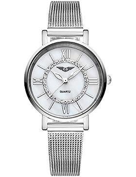 guanqin Luxus Marke Fashion Standard Analog Frauen Edelstahl Quarz Wasserdicht Strass Casual Armbanduhr Silber...