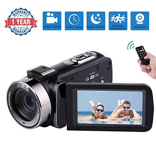 Videokamera Video Camcorder Full HD 1080P 30FPS Filmkamera IR Nachtsicht Camcorder Kamera 16X Digitalkamera mit Pause Funktion und Fernbedienung