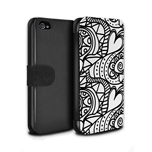 Stuff4 Coque/Etui/Housse Cuir PU Case/Cover pour Apple iPhone 4/4S / Tourbillon/Cour Design / Mode Noir Collection Tourbillon/Cour