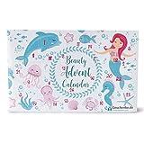 Mermaid Beauty Adventskalender für Mädchen & Frauen, 24 Kosmetik & Pflege Überraschungen im Meerjungfrau Design