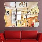 Wandsticker Spiegel Cindere 6 Stücke DIY Silber Wellenmuster Dekor Kunst Aufkleber Spiegel für Schlafzimmer, Badezimmer, Wohnzimmer , 11,7 x 10cm