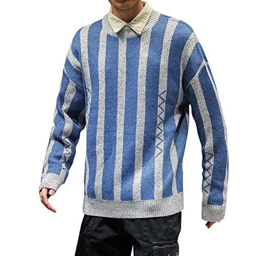 Xmiral Pullover Herren Stricken Vertikale Streifen Tops Sweater Herbst Winter Knit Hemd Übergröße Crew Neck Sweatshirt Mantel Outwear Strickpullover(Himmelblau,L) -