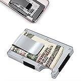 Metall Brieftasche Kreditkarteninhaber mit RFID-Blockierung, Aluminium Geldklammer Geldbörse (Silber)