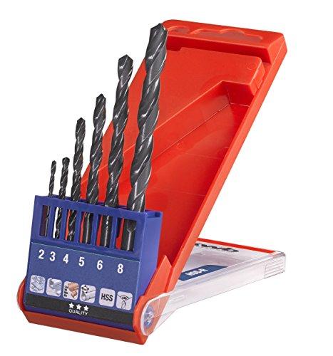 kwb HSS Metallbohrer-Set - Spiralbohrer-Satz für Metall, 6-teilige Werkzeug-Box
