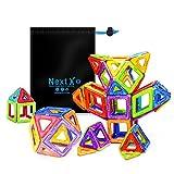 NextX Pädagogische Bausteine Sets, Magnetische Bauklötze Magnetspielzeug Weihnachtsgeschenk für Kinder (64-Stück)