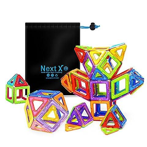 NextX Pädagogische Bausteine Sets, Magnetische Bausätze Spielzeug für 3 Jahre Alte Jungen und Mädchen (64-Stück)