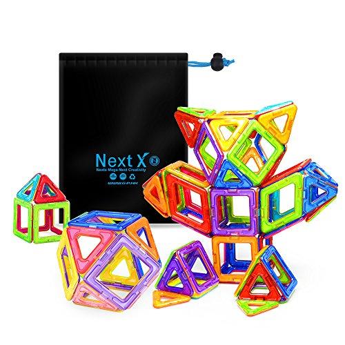 NextX Pädagogische Bausteine Sets, Magnetische Bauklötze Magnetspielzeug Weihnachtsgeschenk für Kinder (64-Stück) (Holz-bausteine-set)