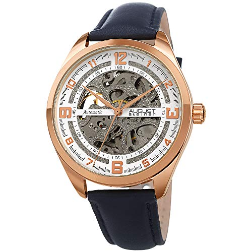 August Steiner Men's Skeleton Watch - Blue Genuine Leather Band, Automatic Mechanical Movement, See Through Dial, Rose Gold Case - AS8264RGBU
