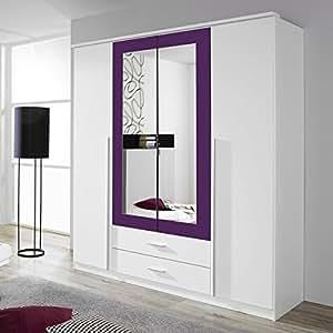 Kleiderschrank wei lila 4 t ren b 181 cm brombeer for Jugendzimmer amazon