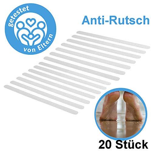 Anti Rutsch Streifen 20 Stück, 1,9 x 21,6cm für BAD DUSCHE WC TREPPE oder Outdoor, Badewannensicherheitsstreifen Sicherheits Streifen (transparent)
