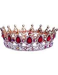 """Santfe 2""""Altura Plata/Chapado en oro y brillantes rojo Full Circle Tiara joya de la boda de novia, accesorios para el pelo"""