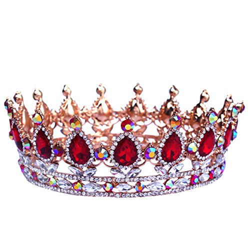 Santfe, corona da principessa, diametro 5cm, stile barocco, con cristalli di rubini e zaffiri, accessorio per capelli, ideale per matrimoni, placcato argento, cod. SantfeHG00041-Crown