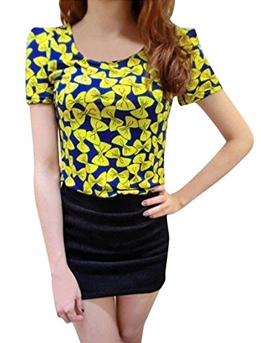 Celebrity Jewellery col rond rembourrages ceinture Design nœud Papillon Prints Casual Shirt - Yellow,Royalblue
