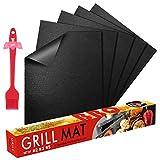 FLY5D BBQ Grillmatte Wiederverwendbare Backmatte (5er Set) mit Antihaftbeschichtung bis 260°C - inklusive Backpinsel - geeignet für Jede Art von Grill & Backofen (Schwarz)